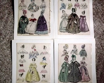 Antique Prints 1836, Four hand tinted, book illustrations, 181 years old, hats, gowns, cloaks, hairstyles, England, Queen Victoria, fashion