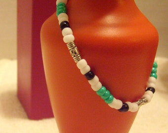 Teal Green, White and Black Seed Bead Stretch Bracelet with Silver Scrollwork Accent Tube Beads