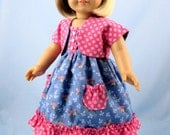 Doll Clothes will fit American Girl - Sundress and Shrug in Steel Blue and Dusty Rose - 18 Inch Doll Clothes