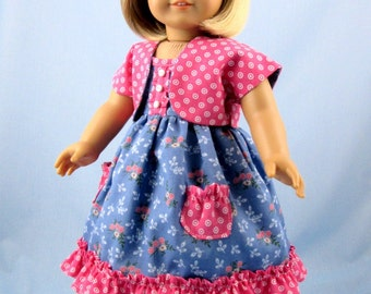 18 Inch Doll Clothes - Doll Clothes will fit American Girl - Sundress and Shrug in Steel Blue and Dusty Rose