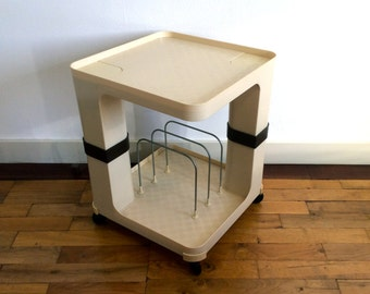 Vintage Seventies trolley for vinyl records LP storage in cream and brown ABS plastic