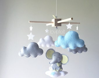 Baby mobile - baby mobile elephant - clouds mobile - moon clouds mobile - yellow and blue moblie - elephant mobile