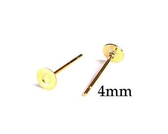 4mm gold earstud - gold tone earstud - flat pad earrings - lead free - cadmium free (1670)