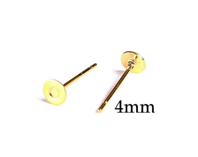 4mm gold earstud - gold tone earstud - flat pad earrings - lead free - cadmium free (1670) - Flat rate shipping