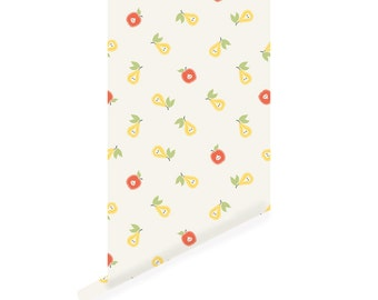 Fruit Wallpaper, Apple and Pear Peel and Stick Wallpaper, Repositionable W1027