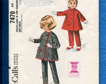 Vintage 1960's McCalls 7470 Mid Century Little Girl's Coat & Tapered Leg Pants Size 4