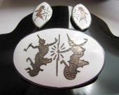 Vintage Siam Sterling White Damascene Brooch & Earrings / Demi Parure / Jewelry / Jewellery