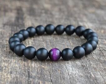 Purple Tiger Eye Bracelet Matte Onyx Bracelet Mens Bracelet Black Bead Bracelet Gemstone Bracelet Mens Womens Yoga Bracelet Gifts