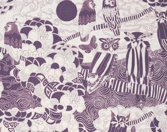 SALE | Kokka Japanese owl fabric - Scandinavian Diary - lightweight canvas - 1/2 YD