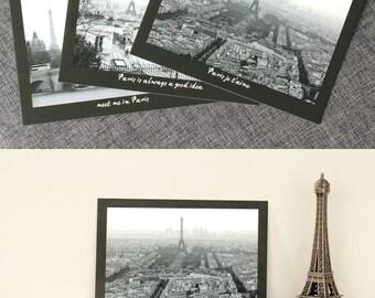 set of 3 prints Eiffel Tower decor travel postcards Paris print french postcards wall art quotes vintage postcards black and white 4x6 print