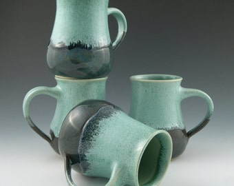 Coffee Mug in Aqua and Blue Handmade Pottery