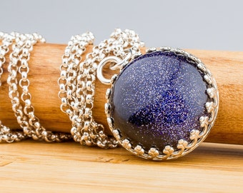 Constellation Necklace - Blue Goldstone gemstone necklace in Sterling Silver - Night Sky Necklace, Galaxy Star Zodiac Space jewelry