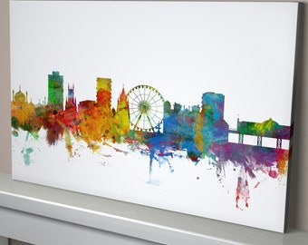 Brighton Skyline Canvas, Brighton Cityscape Canvas Art Print (1019)