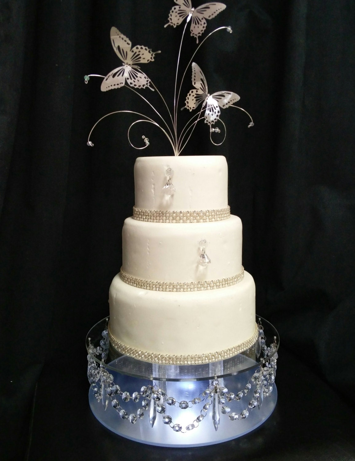 Crystal drape design wedding cake stand with lights many