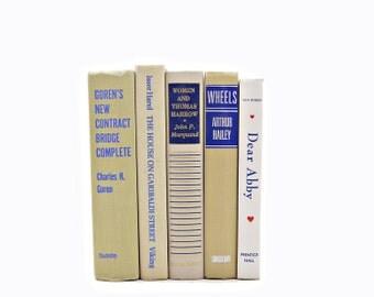 Beige Decorative Books, Blue Book set, Old Books, White Book Collection, Vintage Tan Books, Antique Books, Brown Book Decor, Home Decor