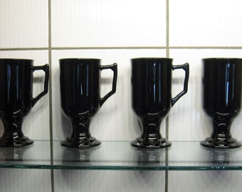 4 Black Glass Irish Coffee Mugs - set of four pedestal mugs