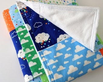 Modern Baby or Toddler Quilted Blanket for Boy - Clouds, Rain, Stars, Moons, Sky, Umbrellas, Raindrops on Cotton, Minky Back, 28 x 35 inches