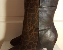 GIRAFFE LEATHER BOOTS // Colin Stuart Mid Calf Boots Fold Over Heels Size 7 Fall Sexy High Heels Animal Print