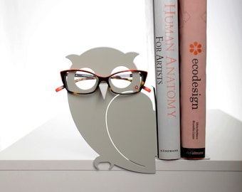 Gray Owl Bookend and Eyglasses Holder