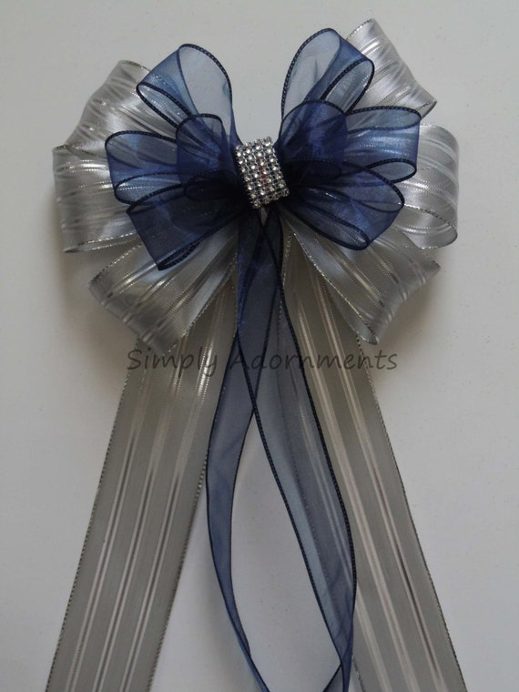 Navy Silver Wedding Aisle Decorations Navy Silver Bling Wedding Pew Bow Navy and Silver Graduation Decor Navy Gray Wedding Decorations