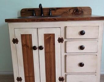 "Bathroom Vanity with Sink - Rustic Bathroom Vanities - Custom Made - 36"" -  Rustic Bathroom Vanity with sink - Farmhouse - Copper sink"