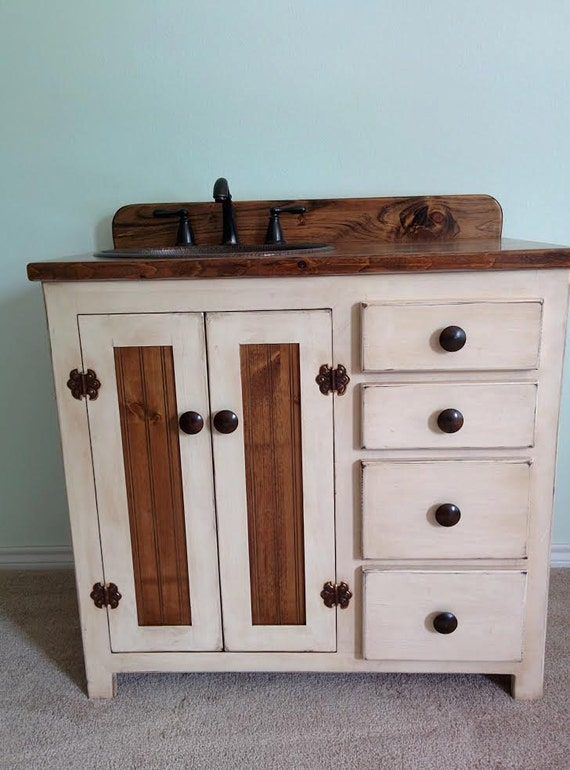 "Bathroom Vanity with Sink - Rustic Bathroom Vanities - Custom Made - 36"" -  Rustic Bathroom Vanity with sink - Farmhouse - Copper sink"
