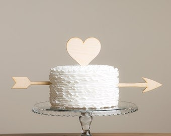 Cupid Heart and Arrow Cake Topper
