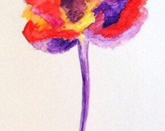 Original Water Color Painting, Red, Purple Peony, 11X14, 9X12