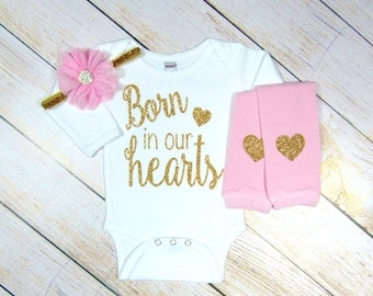 Newborn Girl Outfit, Newborn Take Home Outfit, Hospital Baby Girl Clothes, Gold Pink Born in Our Hearts, Adoption Gifts, Adoption shirt