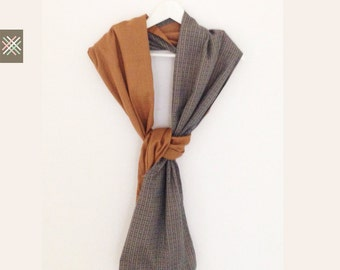 Long  GeometricTwo Side  Beige Gray Scarf Shawl Unique Colors Natural Soft Gift For Her