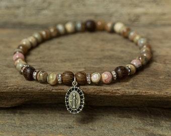 Virgin Mary Bracelet, Religious Jewelry, Baptism Bracelet, Christening Gift, Beaded Bracelet, Rhodochrosite Bracelet, Stretch Bracelet