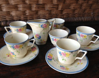 Crown Ducal Coffee Tea Set, Made in England, 1930s Art Deco Pottery, Foral Design, Service for 5, Sugar Bowl and Milk Jug, Hallmarked