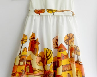 Silk dress with hobbit houses  Fairy tale silk dress hand painted for kids. Made to order.