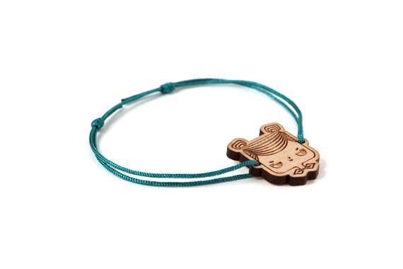 Judith bracelet - 25 colors - cute geek girl bangle - adjustable bracelet - lasercut maple wood - graphic character jewelry - customizable