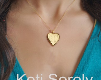 14K Gold Filled - Monogram Locket With Hand Engraved Initials - Heart Locket Necklace - Personalized Photo Locket