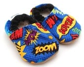 comic book baby shoes superhero baby shoes baby boy shoes blue booties crib shoes soft sole shoes super hero clothing nerd baby shoes geek