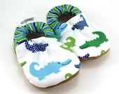 alligator baby shoes, crocodile baby shoes, green and blue, baby boy shoes toddler boy shoes, toddler slippers vegan baby alligator clothing
