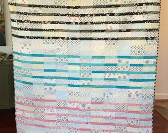 Lap, throw, couch, scrappy patchwork quilt blanket black aqua pink low volume