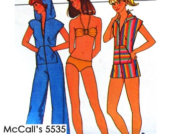 McCall's 5535 Jumpsuit in 2 Lengths and Bikini Sewing Pattern - Size 10-12-14 - Vintage 1977