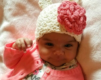 Crochet Bear Hat, Crochet Baby Bear Hat, Girl Beanie, Baby Shower Gift, Crochet Infant Baby Hat, Baby Girl Hat, Baby Hat With Ears
