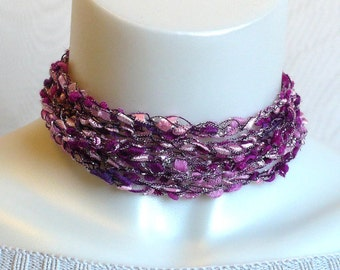 Metallic Pink Ladder Yarn Necklace, Crochet Yarn Necklace, Fiber Jewelry, Lariat Necklace, Pink Ribbon Necklace, Handmade, Ready to Ship