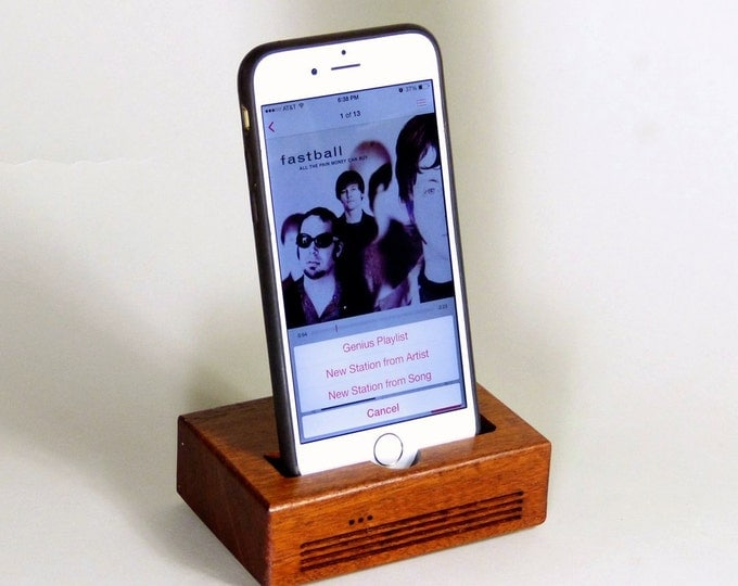 iPhone Docking Station - The CONCERT  Speaker Dock in MAHOGANY wood – Use With or Without a Cover - Boosts the Sound