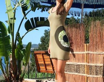 Olive Green Tunic Dress, Bohemian Jersey Dress,  Short Patchwork Dress,