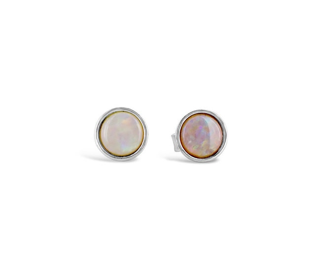 6mm White Opal Sterling Silver Stud Earrings // October Birthstone // Gifts for her