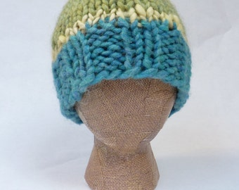 Celery and Sea -- warm and stylish, hand-knit, 100% wool hat