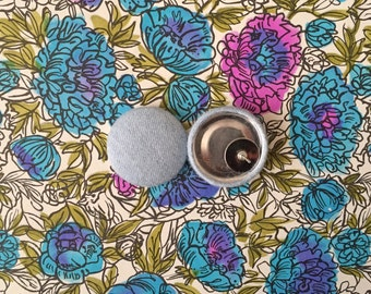 Fabric Button Earrings / Wholesale Jewelry / Chambray / Blue / Handmade Gifts / Small Studs / Hypoallergenic Earring