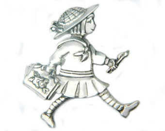 Mary Englebreit Ann Estelle Painter Pin 925 Sterling Silver Brooch Collectible ME Artist Signed Childrens Book Jewelry