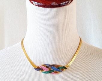 Vintage Pink Blue Green Purple Enamel Centerpiece on a Gold Choker Necklace