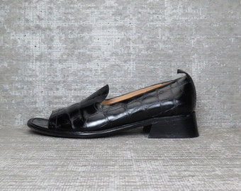 Vtg 90s Black Crocodile Minimal Loafers Shoes 8