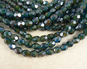 Czech Beads, 6mm Czech Glass Fire Polished Beads, 6mm Faceted Round Beads - Capri Blue with Picasso Luster Beads (FP6/SM-GP6031) - Qty 25
